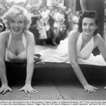 Marilyn and Jane Russel put their hands in cement after the succes of 'Gentlemen Prefer Blondes