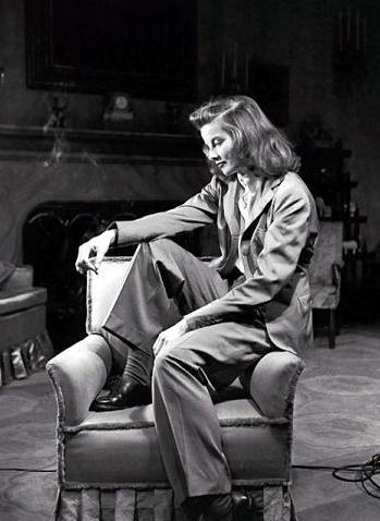 Katharine Hepburn in her usual slacks