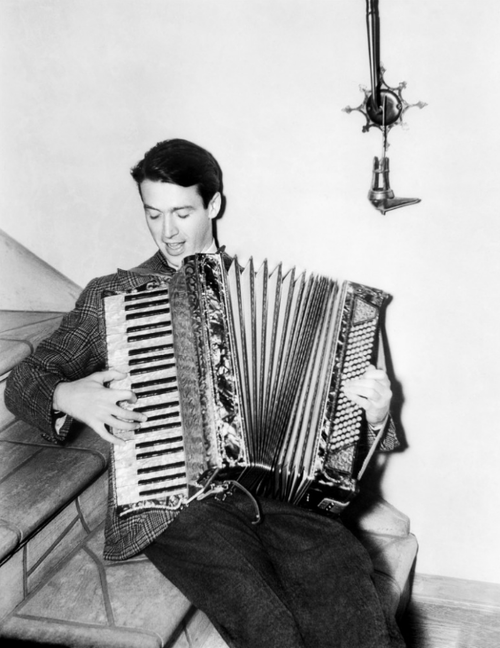 James Stewart playing the accordion
