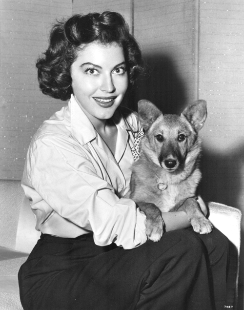 Ava Gardner and dog
